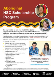 Transport for NSW Aboriginal HSC Scholarship Program